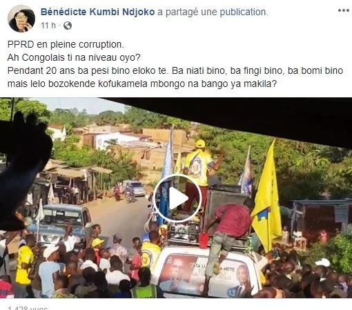 BK Kumbi se désole sur sa page Facebook de l'attitude de ses compatriotes à Songololo
